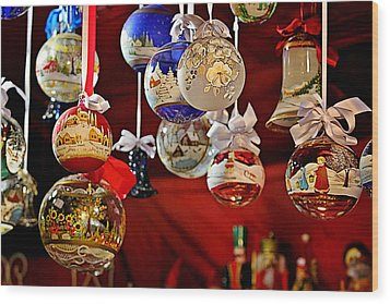 Handcrafted Mouth Blown Christmas Glass Balls Wood Print by Christine Till