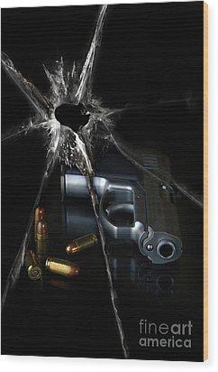Handgun Bullets And Bullet Hole Wood Print by Jill Battaglia