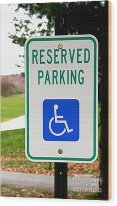 Handicapped Parking Sign Wood Print by Photo Researchers