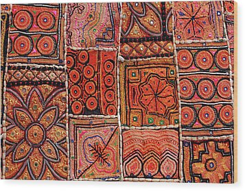 Handicraft Fabric Art Wood Print by Milind Torney
