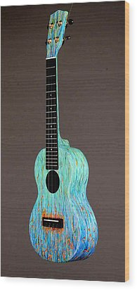 Handpainted Pono Concert Ukulele Wood Print by Jean Groberg