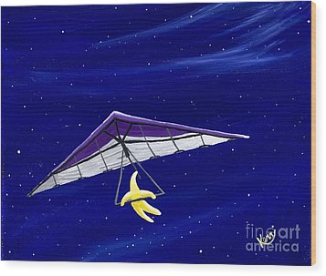 Hang Gliding Star Wood Print