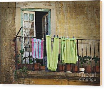 Hanged Clothes Wood Print by Carlos Caetano