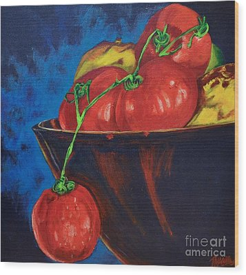 Hanging Tomato Wood Print by Theresa Eisenbarth