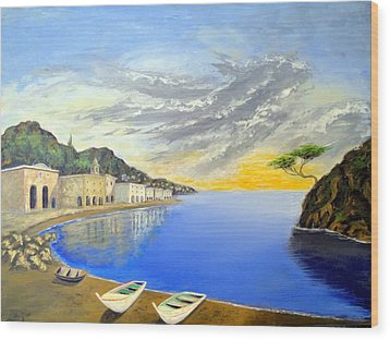 Wood Print featuring the painting Hanging Tree On The Mediterranean by Larry Cirigliano