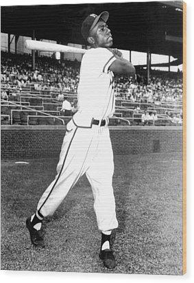 Hank Aaron Of The Milwaukee Braves, Ca Wood Print by Everett