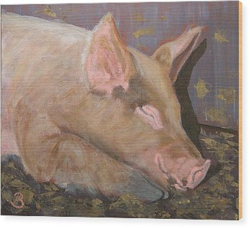 Wood Print featuring the painting Happy As A Pig by Joe Bergholm