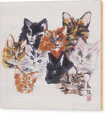 Happy Cats Wood Print by Hilda Vandergriff