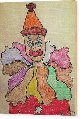 Happy Clown Wood Print by Robyn Louisell