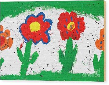 Happy Colorful Flowers Wood Print by Gaspar Avila