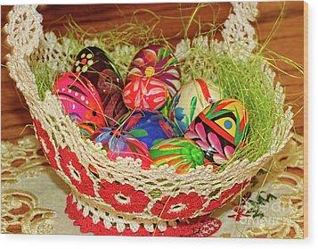 Happy Easter Basket Wood Print by Mariola Bitner