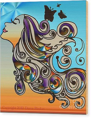 Happy Girl Wood Print by Diana Riukas