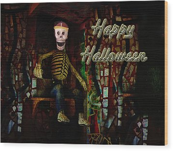 Happy Halloween Skeleton Greeting Card Wood Print by Mother Nature