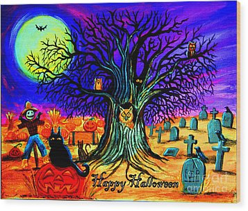 Happy Halloween Spooky Night Wood Print by Nick Gustafson