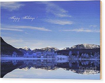 Happy Holidays Wood Print by Sabine Jacobs