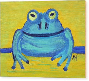 Wood Print featuring the painting Happy Male Frog by Margaret Harmon