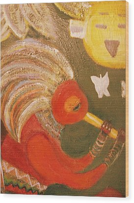 Happy Sun And Kokopelli With Feathers Wood Print by Anne-Elizabeth Whiteway