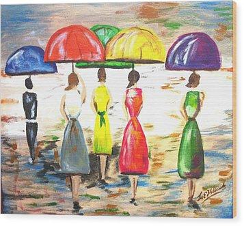 Happy Umbrellas Wood Print by Lee Halbrook