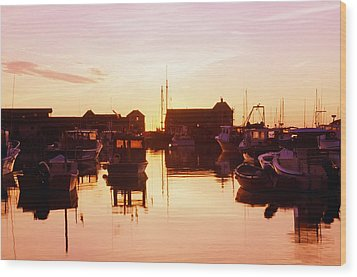 Harbor At Sunrise Wood Print by Bilderbuch