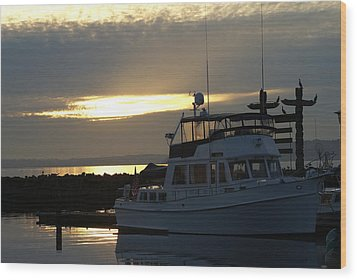 Wood Print featuring the photograph Harbor At Sunset by Jerry Cahill