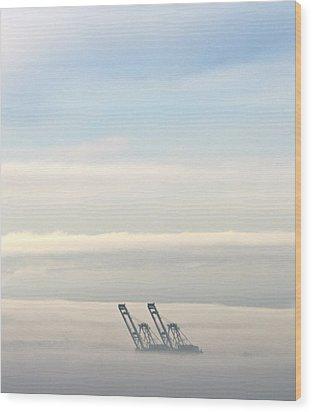 Harbor Cranes In Fog Wood Print by Sean Griffin