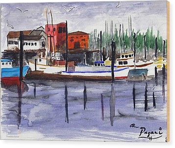 Harbor Fishing Boats Wood Print by Chriss Pagani