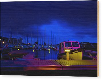 Harbor Nights Wood Print by Andre Faubert