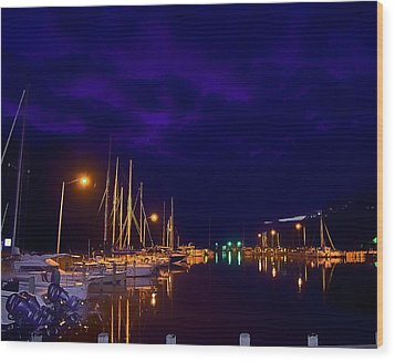 Wood Print featuring the photograph Harbor Nights by Kelly Reber