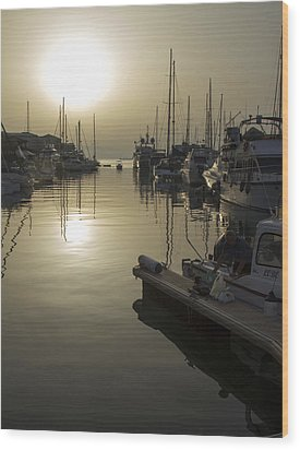 Harbor Sunset Wood Print by Stephen McCluskey