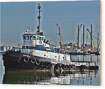Wood Print featuring the photograph Harbor Tug by John Collins