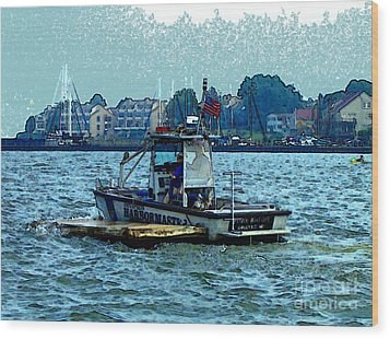 Wood Print featuring the painting Harbormaster by Elinor Mavor