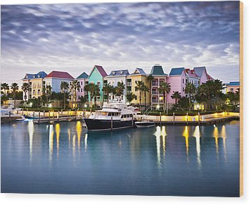 Harborside Resort At Dawn - Paradise Island Nassau Bahamas Wood Print by Dave Allen