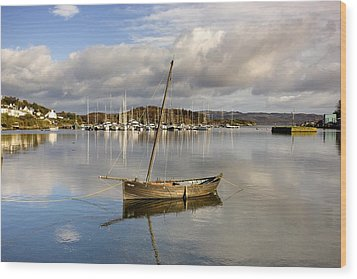 Harbour In Tarbert Scotland, Uk Wood Print by John Short