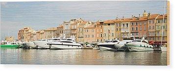 Harbour, St. Tropez, Cote D'azur, France Wood Print by John Harper