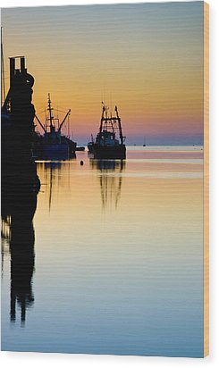 Wood Print featuring the photograph Harbour Sunrise by Trevor Chriss
