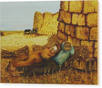 Wood Print featuring the painting Hard Labor Fatigue by Itzhak Richter