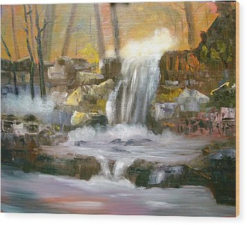 Hard Rock Falls Wood Print