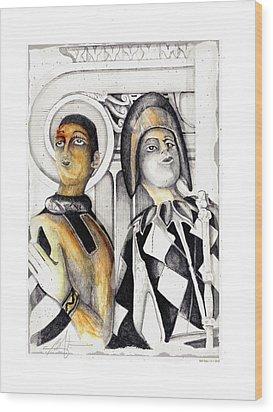 Harlequins Wood Print by Bob Salo