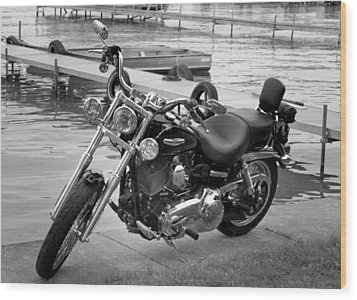 Harley Black And White Wood Print by Dean Bennett