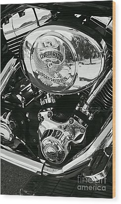 Harley Davidson Bike - Chrome Parts 02 Wood Print by Aimelle