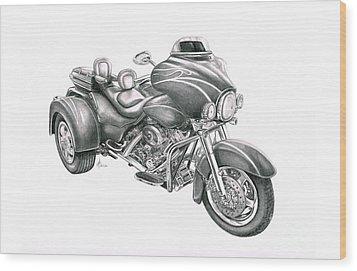Harley Davidson Trike Wood Print by Murphy Elliott
