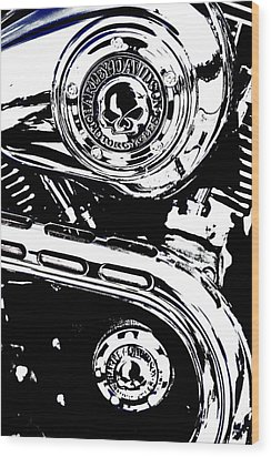Wood Print featuring the photograph Harley Skulls by Randall  Cogle