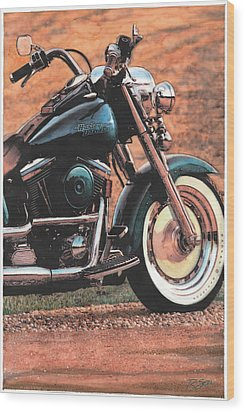 Wood Print featuring the painting Harley Softtail by Rod Seel