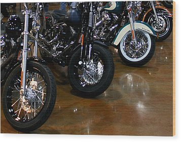 Harley Wheels Wood Print by Karen Harrison