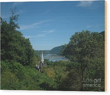 Wood Print featuring the painting Harper's Ferry Long View by Mark Robbins