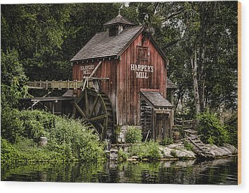 Harpers Mill Wood Print by Heather Applegate