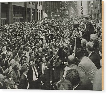 Harry Belafonte B. 1927 Speaking At An Wood Print by Everett