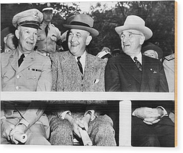 Harry Truman Observing The First Armed Wood Print by Everett