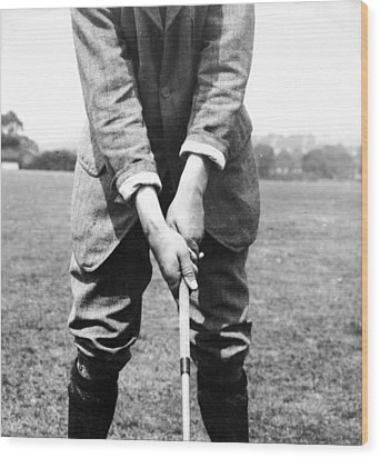 Wood Print featuring the photograph Harry Vardon Displays His Overlap Grip by International  Images