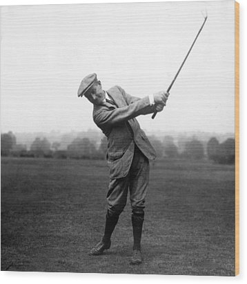 Wood Print featuring the photograph Harry Vardon Swinging His Golf Club by International  Images